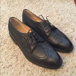 MARIANO CAMPANILE BLACK LEATHER WING TIP SHOES NEW